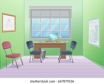 Office room with desk. Notebook. Window with curtains.