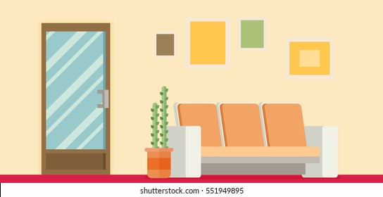 Office Room Door Corridor Waiting Hallway Flat Vector Illustration