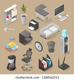Office room furniture icon set, isometric style. Indoors design including desks, office chairs, printer stands. Vector 3D illustration office tools.