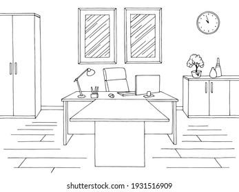 Office room graphic black white interior sketch illustration vector