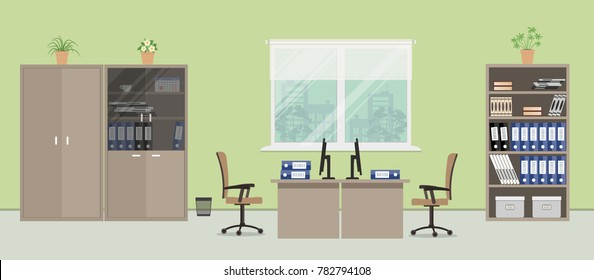 Office room in a green color. There are desks, beige chairs, cabinets for documents and other objects on a window background in the picture. Vector illustration