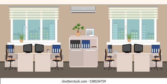 Office room interior including four work spaces an desk with cityscape outside window. Business company building inside. Flat style vector illustration.