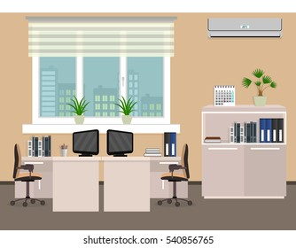Office room interior including two work spaces with cityscape outside window. Flat style vector illustration..