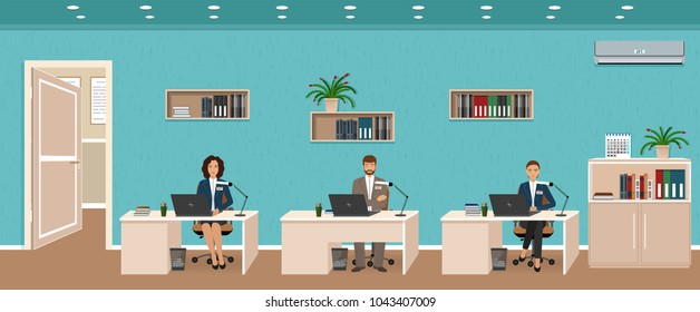 Office room interior with three workplaces, working employee and door outside. Workers sitting at desks and work on the computers. Flat style vector illustration.