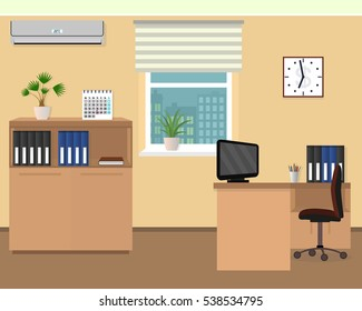 Office room interior. Workspace design with clock, air conditioning and cityscape outside window. Flat style vector illustration.