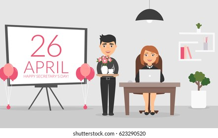 Office room on April, 26. Male office worker wishes his female colleague a Happy Secretary's Day and presents a coffe and bouquet of flowers. Administrator works on the computer. Flat design vector.