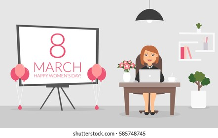 Office room on March, 8. Happy Women's Day. Businesswoman working at a computer. Cute character. Flat design vector illustration.