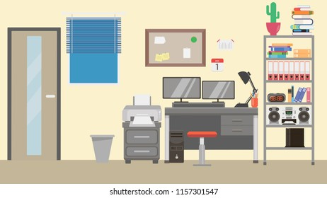 Office room and study vector illustration