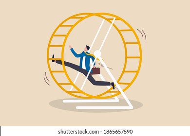 Office salary man work in loop with no career path, tried or fatigue of overwork, inefficient or work hard trap that never finish concept, frustrated businessman in hurry running in rat race wheel.
