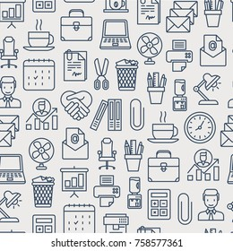 Office seamless pattern with thin line icons of manager, coffee machine, chair, career growth, e-mail, folders, water cooler, lamp. Vector illustration for background.