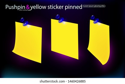 Office set yellow stickers, pinned blue pushbuttons with curled corner, ready for your message. Isolated on dark, black background. Design business vector illustration. Eps10 decor close-up side view.