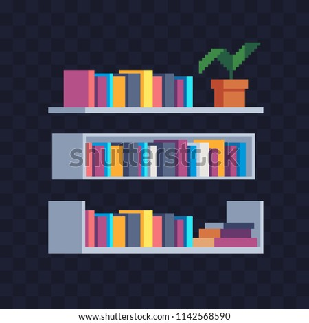 Office Shelf With Folders And Documents Bookshelf Pixel Art Vector Illustration Isolated On Dark Background