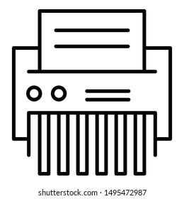 Office shredder icon. Outline office shredder vector icon for web design isolated on white background