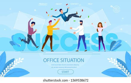 Office Situation of Business Success. Businessman Team Tossing in Air Colleague, Congratulation. Group of People Celebrating Victory Achievement Cartoon Flat Vector Illustration. Horizontal Banner