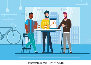 Office Situation Coffee Break Vector Illustration. Businessman on Break Drink Coffee and Show Presentation on Electronic Devices. Creative Company Colleagues Discussion and Brainstorming.