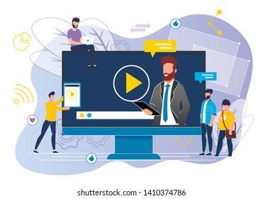 Office Situation Webinar Vector Illustration. Videoconference on Business. Video Blog on Entrepreneurship. Man on Computer Screen Tells Information. Men Will make Presentation Online.