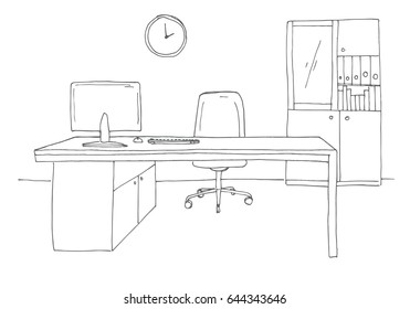 Office in a sketch style. Hand drawn office furniture. Vector illustration.