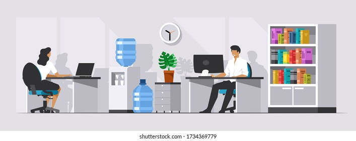 Office space with managers or clerks. Programmers work at the computer. Tech support