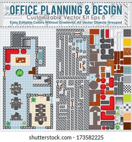 Office Space Planning and Design. Vector Kit Contains: Construction Elements, Modern Furniture, Various Objects and Items to Create Your Own Office Interior.
