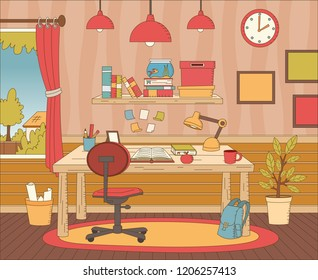 Office space with table and books.