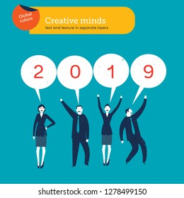 Office staff celebrating the new year 2019. Vector illustration. Cartoon characters repair the numbers. Business illustration. Flat illustration for banner and site. - Vector