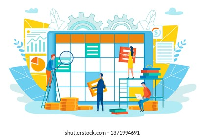 Office Staff Day Planning Vector Illustration. Men and Women Make Work Plan for Week or Month. Observance Terms Brings Income and Increases Trepation. Close Up Task Scheduler. Cartoon, Flat.