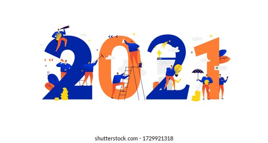 Office staff are preparing to celebrate the new year 2021. Vector. Businessmen communicate among large numbers. New year is new business plans. Save investment and search for creative ideas.