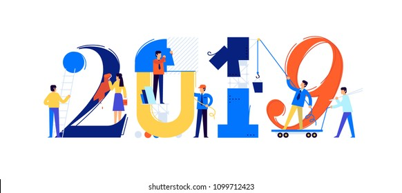 Office staff are preparing to meet the new year 2019. Vector illustration. Cartoon characters repair the numbers. Image is isolated on white background. Flat illustration for banner and site.