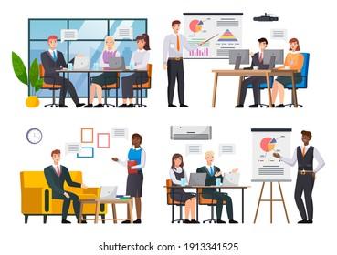 Personnel de bureau, travail et communication. Chef et subordonnés. Divers employés, équipe de managers. Les cadres supérieurs employés de différents niveaux. Employés de bureau. Les collègues. Les collègues discutent du travail d'équipe du projet