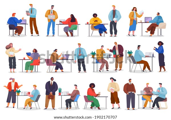 Office staff, work and communication. Head and subordinates. Various workers, managers team. Top managers employees of different levels. Office workers. Co-workers. Colleagues discuss project teamwork