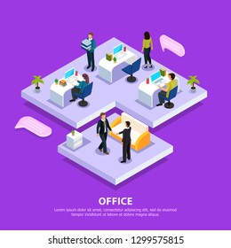 Office staff at work places and during business meeting isometric composition on purple background vector illustration
