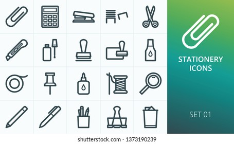 Office stationery icons set. Set of clip, stapler, cutter knife, staples, stamp ink pad, binder clip, pen, scissors vector icons