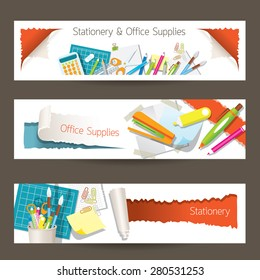 Office and Stationery Supplies Objects Banner