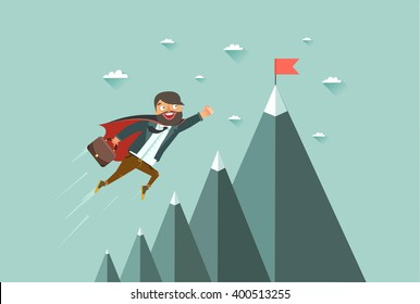 Office superman flying to achieve his goal. Leadership concept. Mountains with red flag on the top, sky and clouds on background. Colorful vector illustration in flat style.