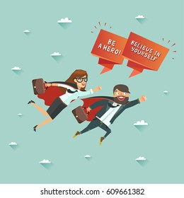 Office superman and superwoman flying to achieve their goal. Leadership and teamwork concept. Colorful vector illustration in flat style