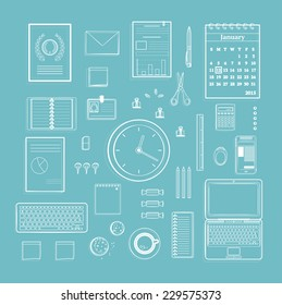 Office Supplies Collection Flat Clean Lines Monochrome Illustration on Blue. Business one color organization objects set. Vector design.