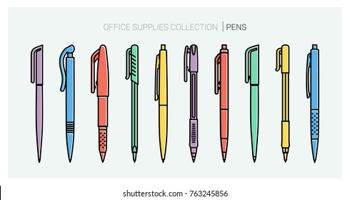 Office supplies collection. Pens set. Writing tools. Outline style. Ballpoint thin line vector icons. Back to school. Writing materials Vector Stationery collection.