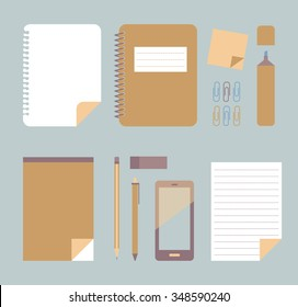 Office supplies. Muted tones. Flat vector illustration.