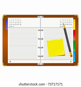 Office supplies on a white background.