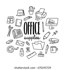 Office supplies. Set of office hand drawn doodle icons set.
