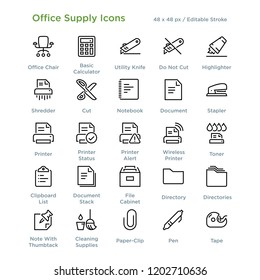 Office Supply Icons - Outline styled icons, designed to 48 x 48 pixel grid. Editable stroke.