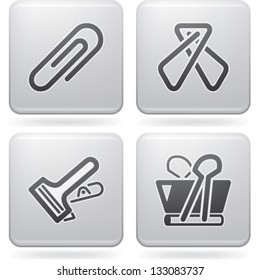 Office Supply Objects: 4 different kind of paper clip.