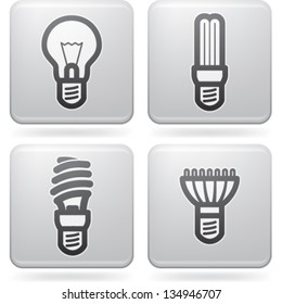 Office Supply (objects, tools), from left to right, top to bottom:   Classic lightbulb, Fluorescent eco lightbulb,Spiral fluorescent eco lightbulb, Led eco lightbulb.
