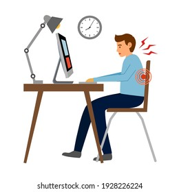 Office syndrome concept vector Office syndrome concept vector illustration. Businessman has neck pain and backache symptom at workplace.