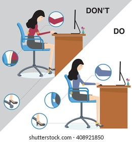 Office syndrome do and don't sit ergonomic