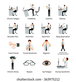 Office syndrome flat icons set with employees at desk and  inscriptions about negative impact of sitting work isolated vector illustration