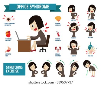 Office syndrome.health care concept. infographic element.vector flat icons woman cartoon design.brochure poster banner illustration.isolated on white background