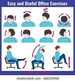 Office syndrome health care concept vector infographic.  Syndrome pain office and infographic people exercises for office work illustration