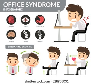 Office syndrome infographic. Flat design.
