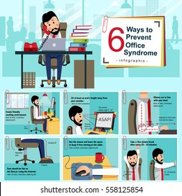 Office syndrome prevention info graphic with cartoon office staff showing how to avoid the chronic disease caused by various factors in the work environment of people nowadays, illustration, vector.